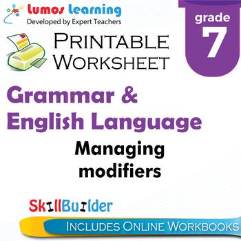Managing Modifiers Printable Worksheet, Grade 7