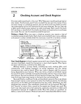 Managing Money: Banking Basics-Checking Account and Check