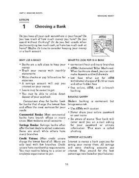 Managing Money: Banking Basics-Choosing a Bank