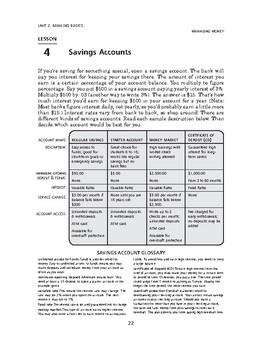 Managing Money: Banking Basics-Savings Account