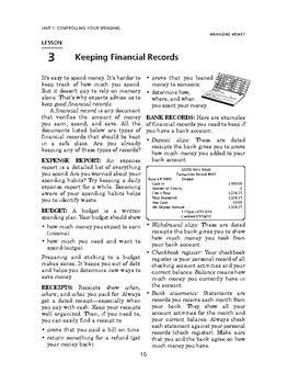 Managing Money: Controlling Your Spending-Keeping Financial Records