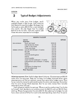 Managing Money: Improving Your Budgeting Skills-Typical Budget Adjustments