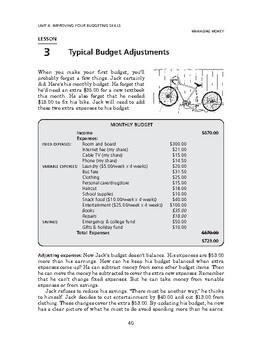 Managing Money: Improving Your Budgeting Skills-Typical Budget Adjustments