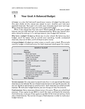 Managing Money: Improving Your Budgeting Skills-Your Goal: A Balanced Budget