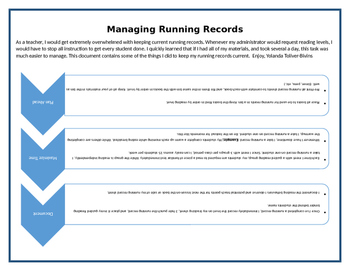 Managing Running Records