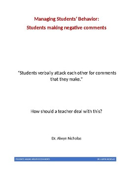 Managing Students' Behavior: Students making negative comments