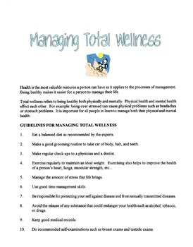 Managing Total Wellness Lesson