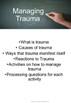 Managing Trauma: Activities for Teens