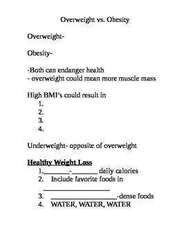 Managing Weight notes
