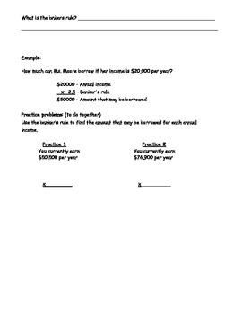 Managing a Household - Buying a Home Worksheet; Real World Math