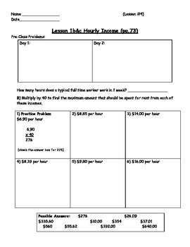 Managing a Household - Figuring Hourly Income Worksheet; Real World Math