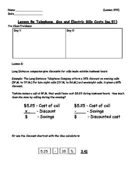 Managing a Household - Phone Bills Worksheet; Real World Math