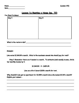 Managing a Household - Renting a Home Worksheet; Real World Math