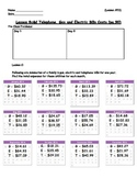 Managing a Household - Yearly Bills (Averages) Worksheet; Real World Math