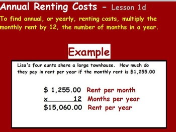 Managing a household - Figuring Annual Rent w worksheet (POWERPOINT)