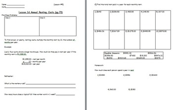 Managing a household - Figuring Annual Rent w worksheet (SMART BOARD)