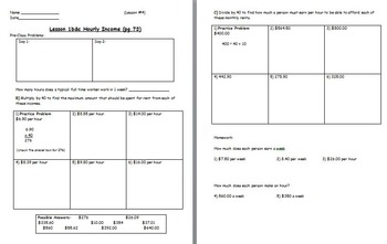 Managing a household - Hourly Income w worksheet; Real world Math (SMART BOARD)