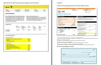 Managing a household - Paying Bills w Worksheet; Real world Math (POWERPOINT)
