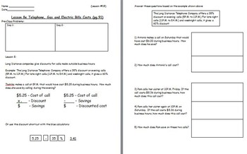 Managing a household - Phone Bill w Worksheet; Real world Math (SMART BOARD)