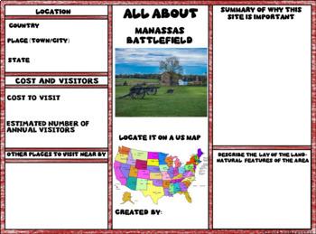 Manassas Battlefield Digital Research Brochure in Google Slides™