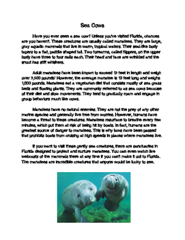 Manatee Informational Passage