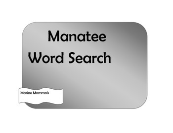 Manatee Word Search