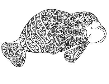 Manatee Zentangle Coloring Page By Pamela Kennedy Tpt