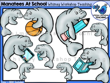 Manatees At School Clip Art - Whimsy Workshop Teaching
