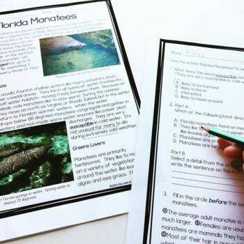 FSA & CCSS Aligned Manatees Reading and Language/Editing Practice