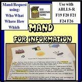 Mand for Information Cards ABLLS-R F19, F20, F21, F24, F26, Autism