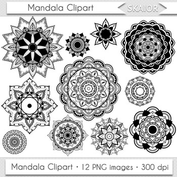 Mandala Clipart Digital Flowers Clip Art Henna Coloring Page Lace Doily