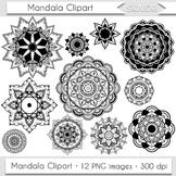 Mandala Clipart Digital Flowers Clip Art Henna Coloring Pa