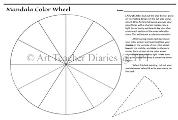 Mandala Color Wheel Art Lesson Painting Acrylic Geometry Project Printable