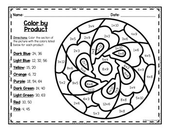Color by Multiplication - Mandalas - Mixed Practice