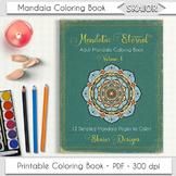 Mandala Coloring Book Adult Coloring Book Printable PDF Relaxation
