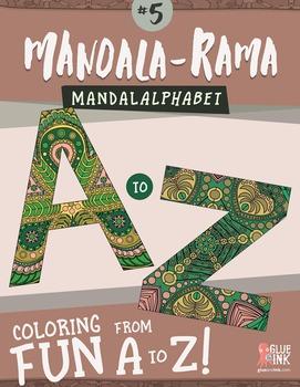 """Mandala Coloring Book – Mandala-Rama #5 – Mandala Alphabet! (""""Madalalphabet""""!)"""
