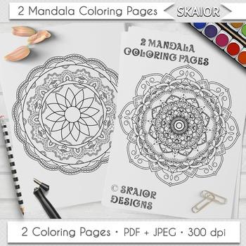 Mandala Coloring Page Adult Coloring Printable Relaxation Meditation Zen