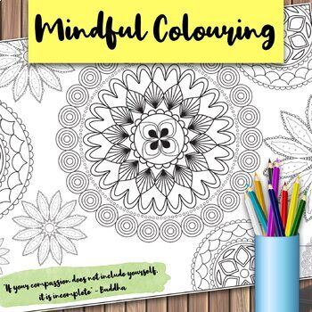 Giant Mandala Colouring Page 2 with Mindful Quote