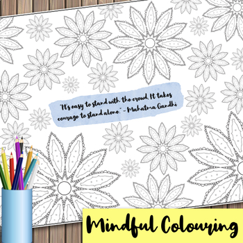 Giant Mandala Colouring Page 3 with Mindful Quote