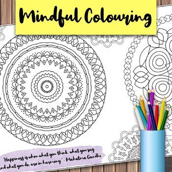 Giant Mandala Colouring Page 4 with Mindful Quote