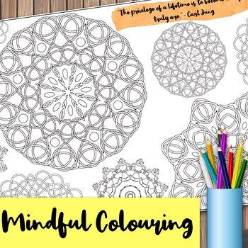 Giant Mandala Colouring Page 5 with Mindful Quote