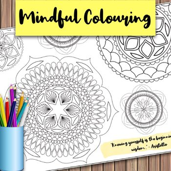Giant Mandala Colouring Page 6 with Mindful Quote
