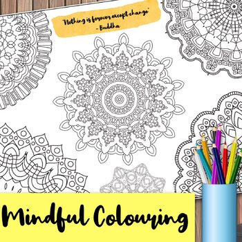 Giant Mandala Colouring Page 7 with Mindful Quote