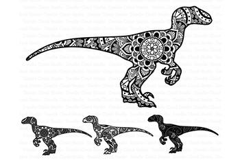 Mandala Dinosaur SVG Raptor Mandala