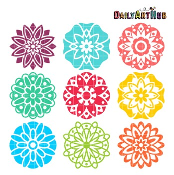Mandala Flowers Clip Art - Great for Art Class Projects!