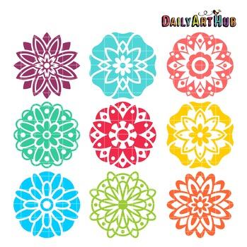 Mandala Flowers Clip Art - Great for Art Class Projects!