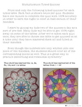 Mandala Math Fact Fluency Tracking - Multiplication and Division