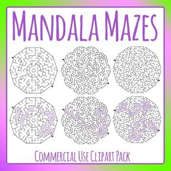 Mandala Mazes Clip Art Pack for Commercial Use