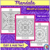 Mandala Mindful Coloring - Version 2 Square {Editable Text}