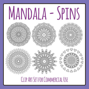 Mandala Spins Color In Clip Art Set for Commercial Use